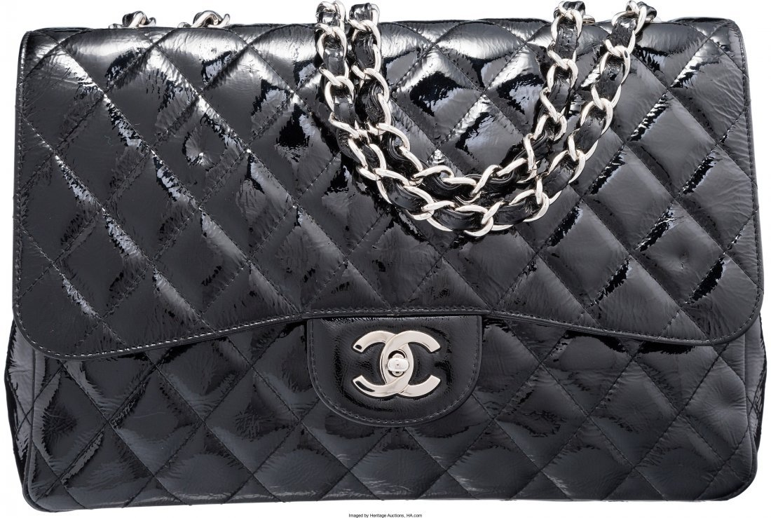 58002: Chanel Black Quilted Distressed Patent Leather J