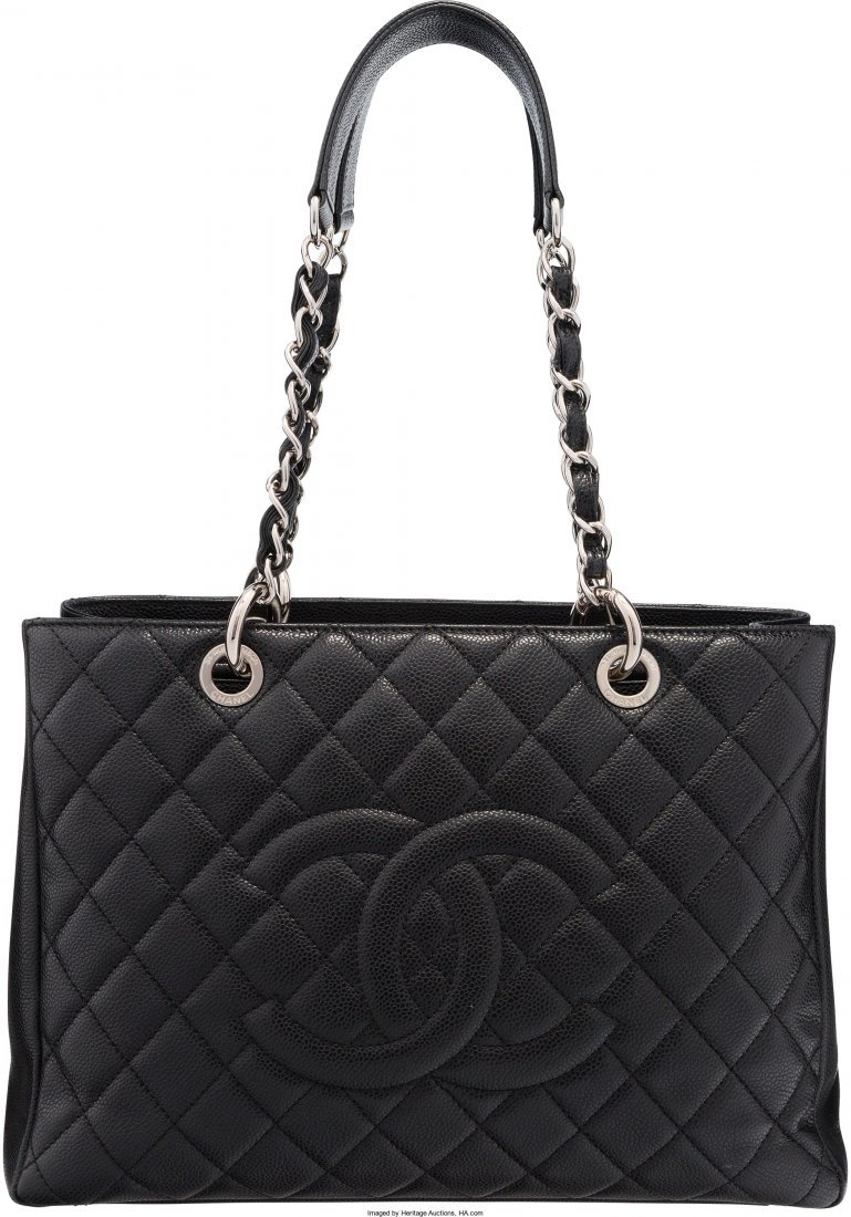 58003: Chanel Black Quilted Caviar Leather Grand Shoppi