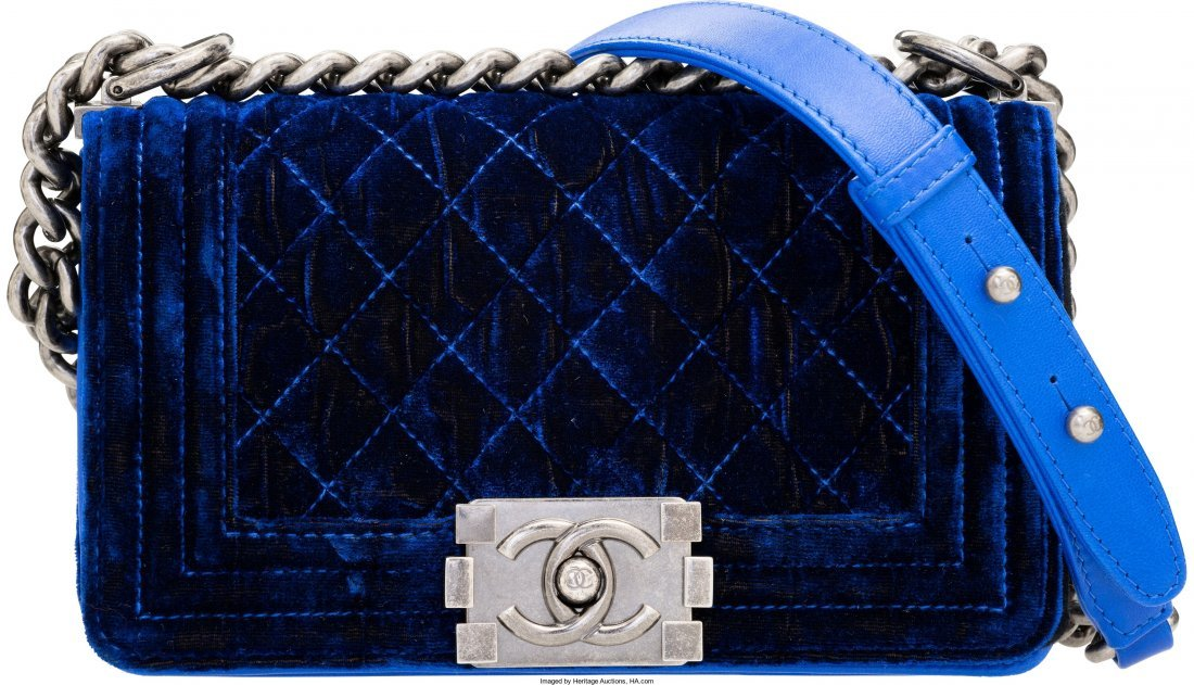 58004: Chanel Blue Quilted Velvet Small Boy Bag Excelle