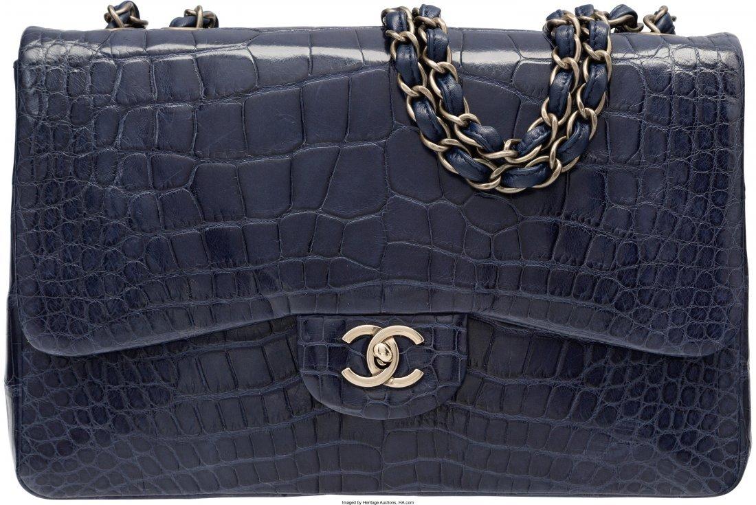 58005: Chanel Shiny Navy Blue Alligator Jumbo Single Fl
