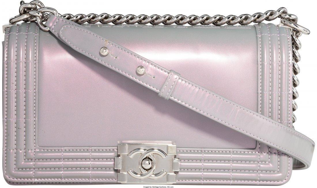 58006: Chanel Iridescent Purple Patent Leather Boy Bag
