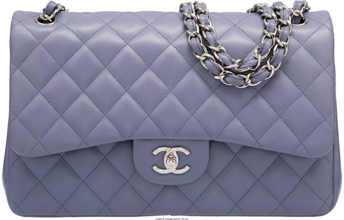 58007: Chanel Lavender Quilted Lambskin Leather Jumbo D