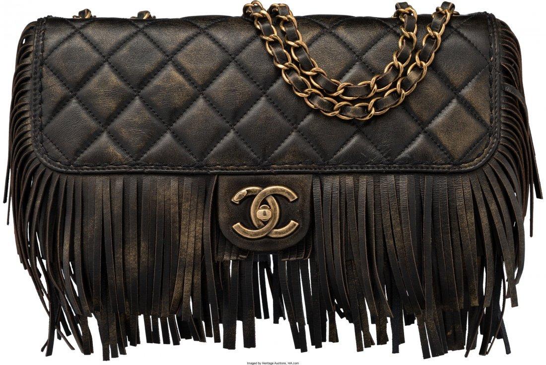58008: Chanel Limited Edition Paris-Dallas Black Quilte