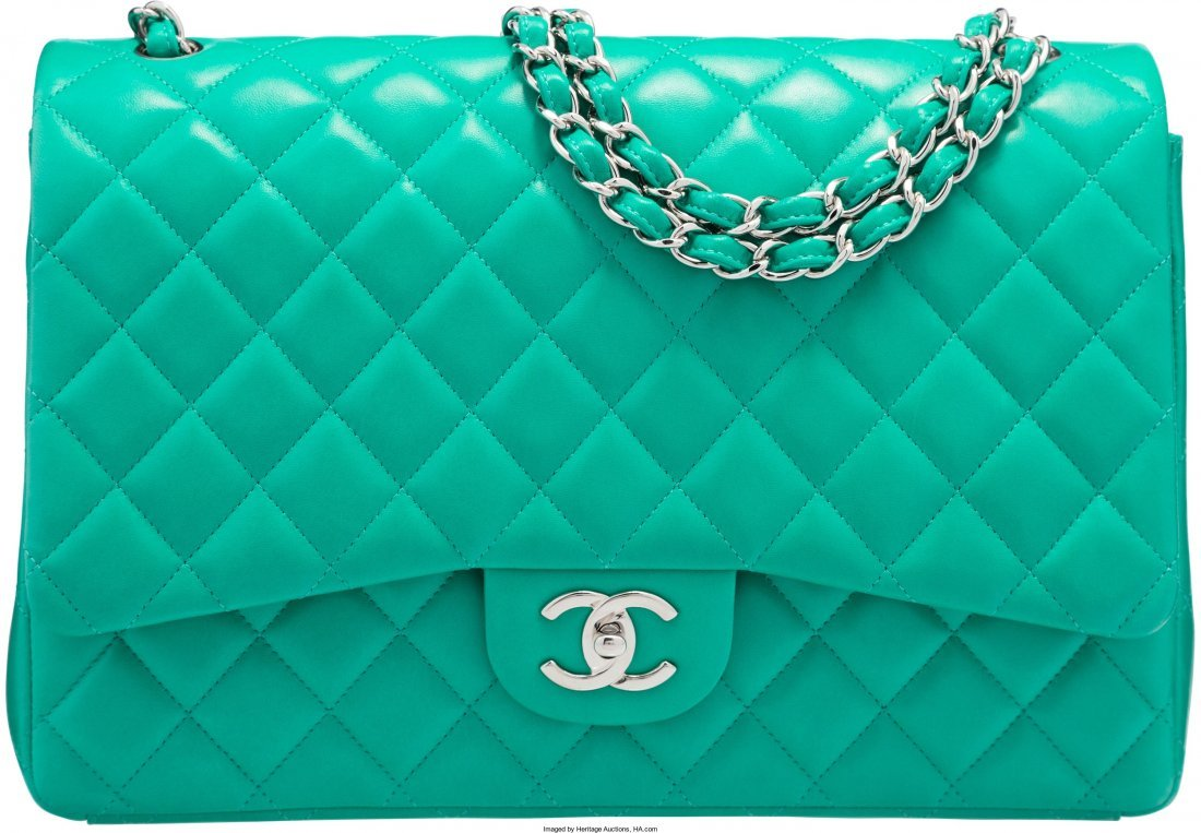 58009: Chanel Green Quilted Lambskin Leather Maxi Doubl
