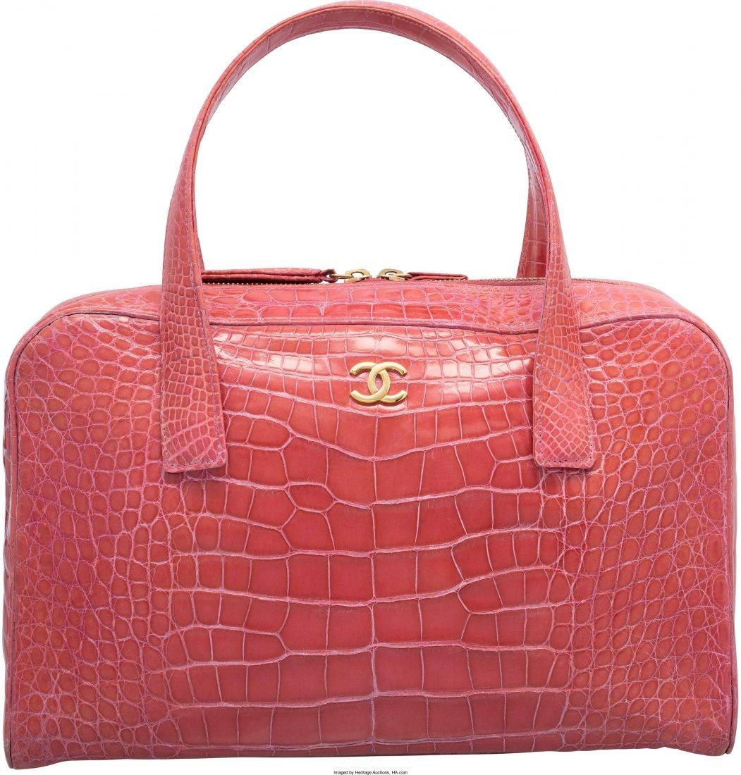 58010: Chanel Shiny Pink Crocodile Bowler Bag Very Good