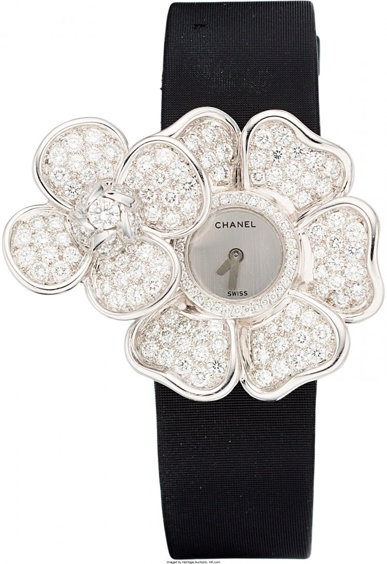 58011: Chanel Diamond & 18K White Gold Secret Camellia