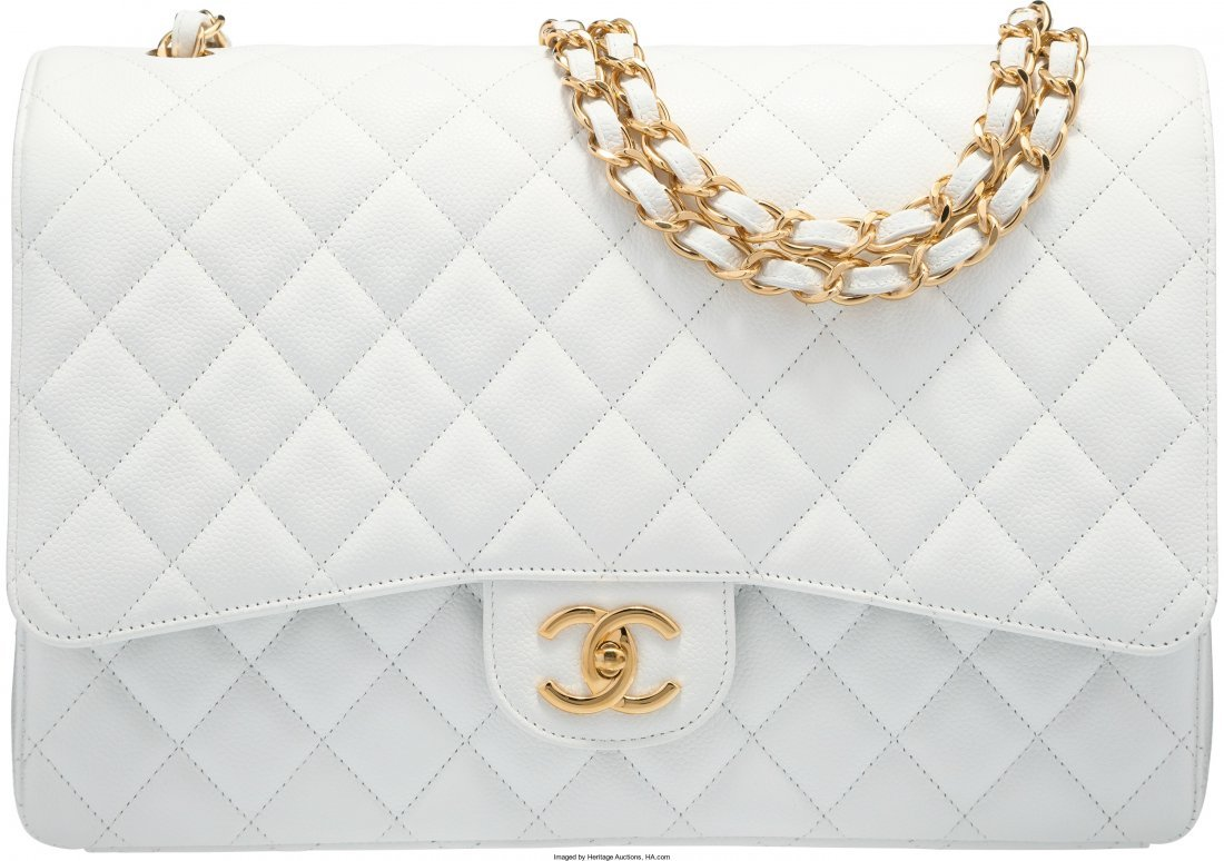 58012: Chanel White Quilted Caviar Leather Maxi Double