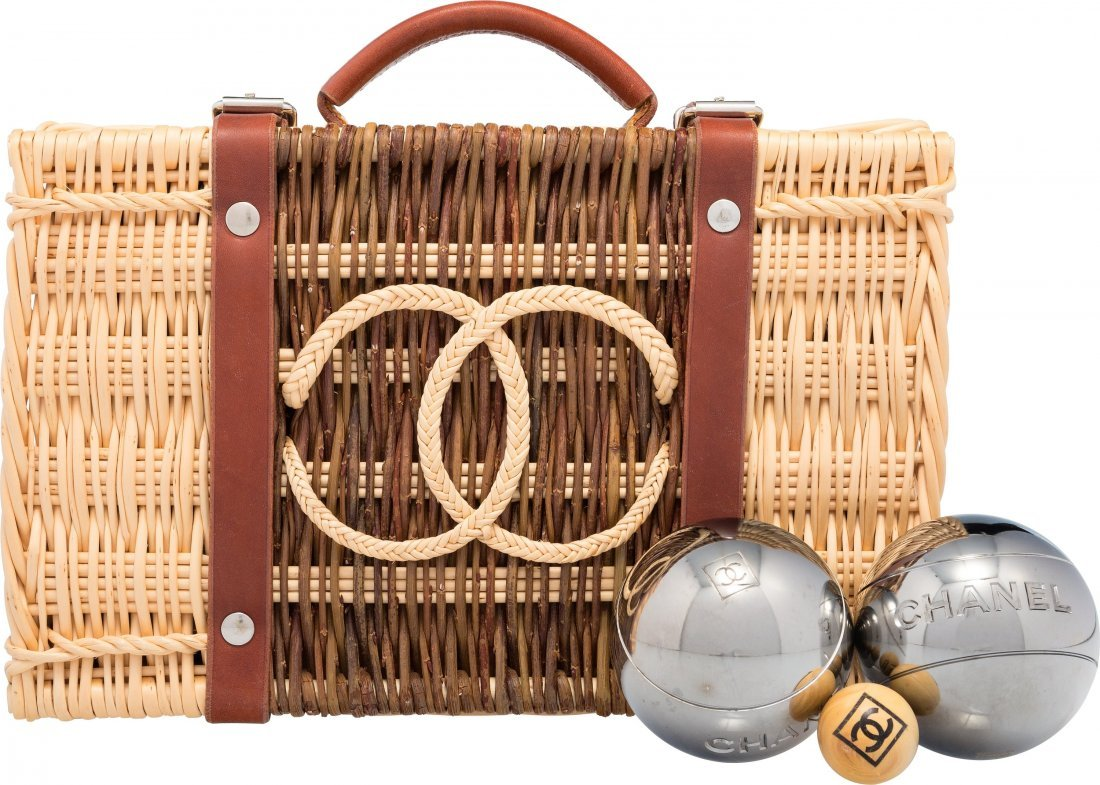 58014: Chanel Limited Edition Wicker Petanque Bocce Bal