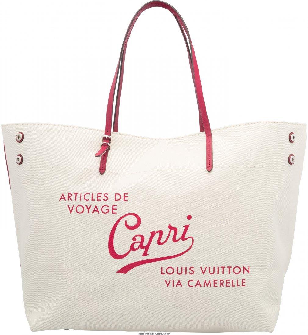 58019: Louis Vuitton White & Red Canvas Capri Cabas Tot