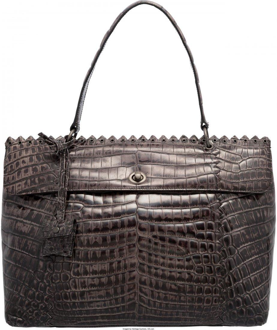 58023: Bottega Veneta Shiny Gray Crocodile Cocco Lave E