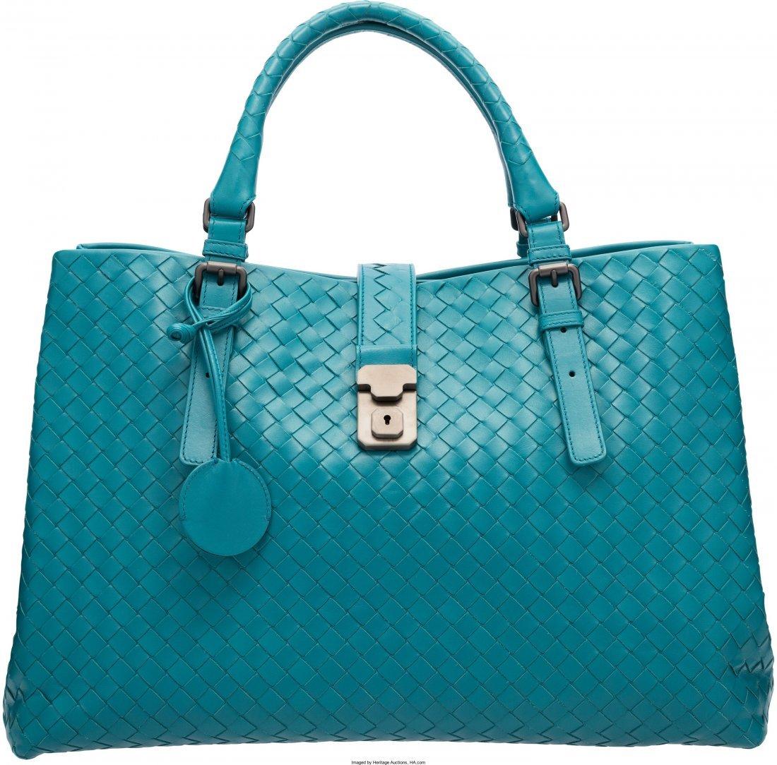 58024: Bottega Veneta Blue Intrecciato Nappa Leather Ro