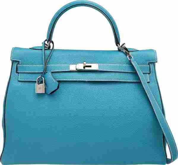 Hermes Special Order 35cm Blue Jean & Indigo Tog