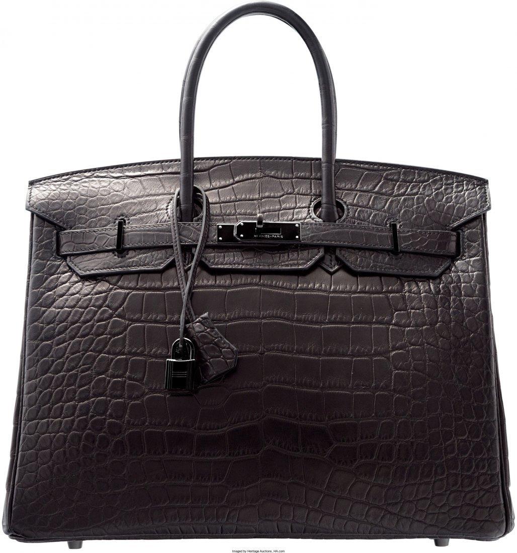 58168: Hermes Limited Edition 35cm Matte So Black Allig