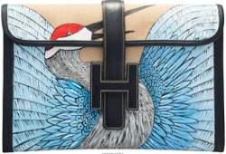 58087: Hermes Customized Blue Marine Calf Box Leather &