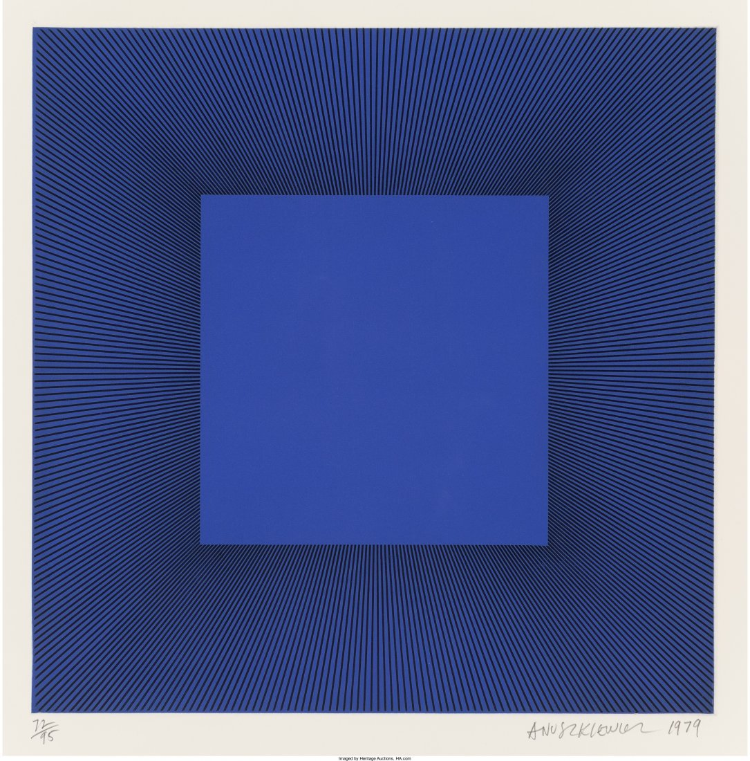 65002: Richard Anuszkiewicz (b. 1930) Blue with Black,