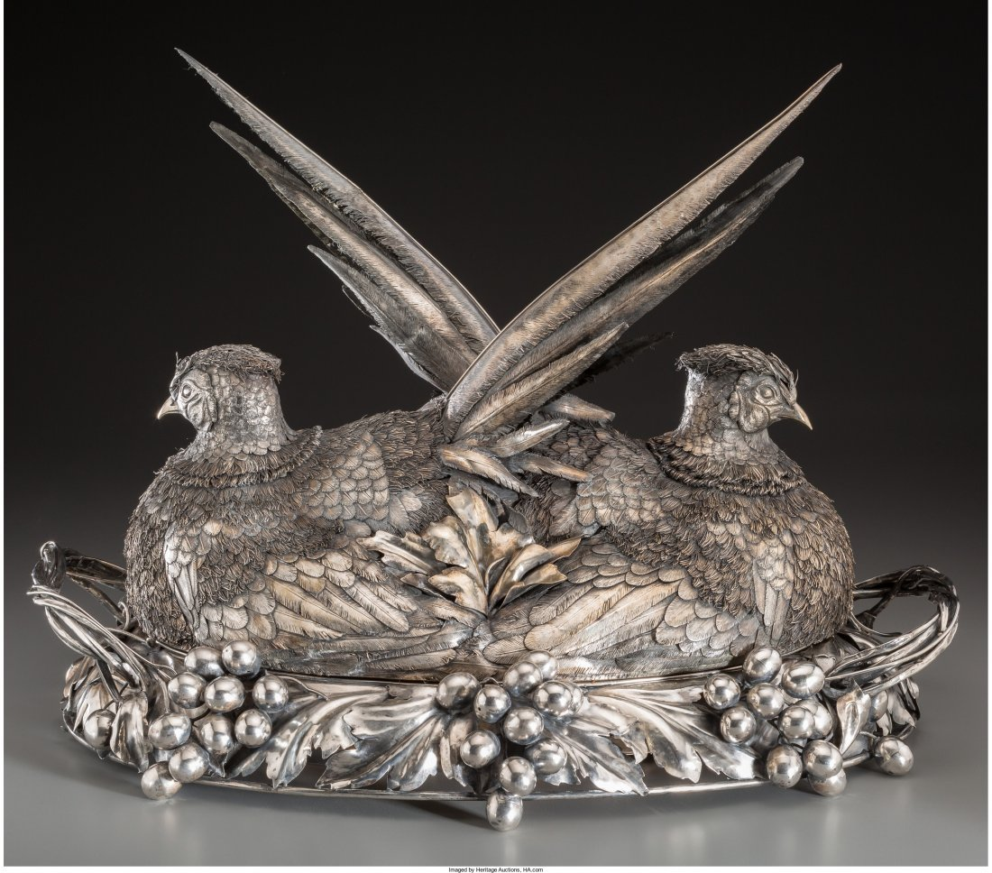 74001: A Buccellati Silver Tureen with Double Pheasant