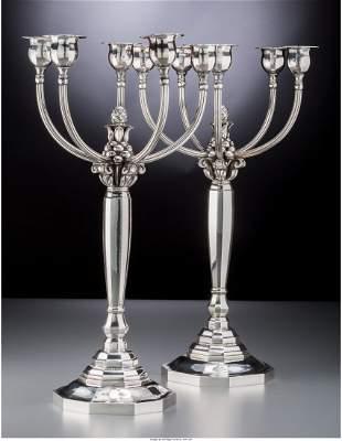 74176: A Pair of Georg Jensen Silver Five-Light Candela
