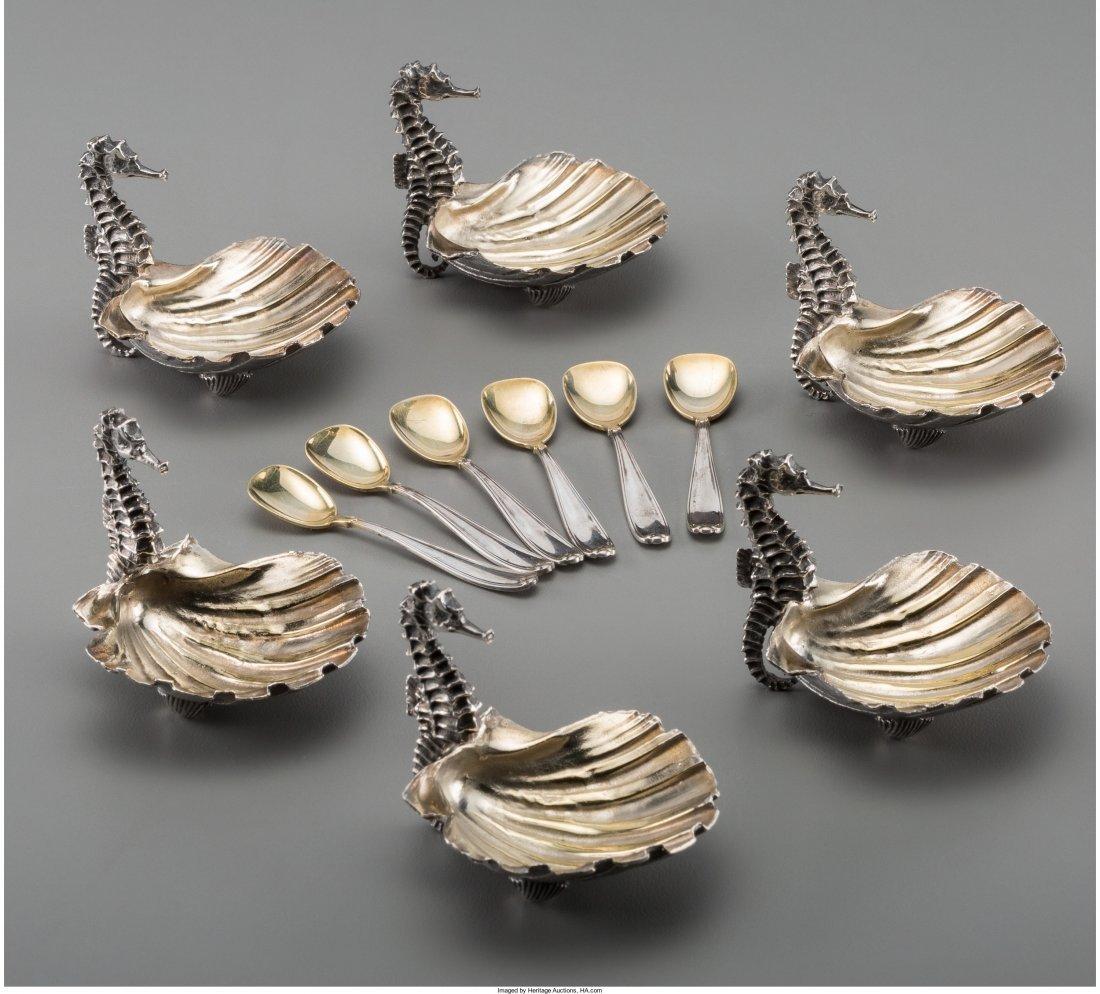 74003: Six Buccellati Partial Gilt Silver Figural Open