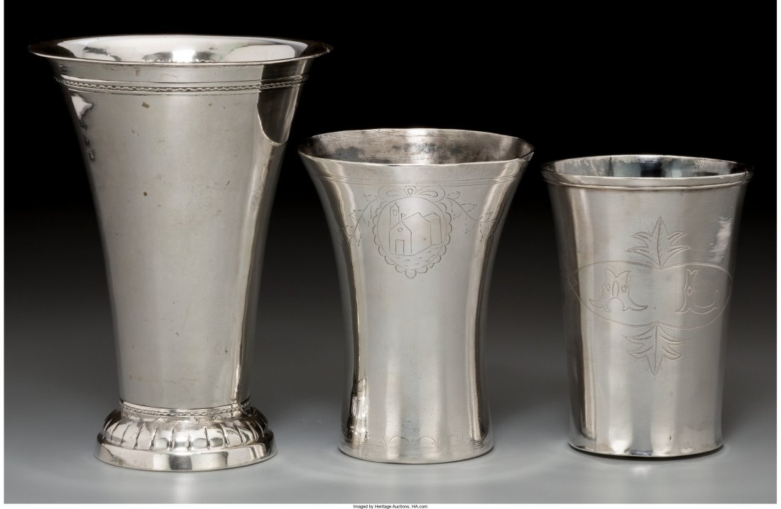 74014: Three Silver Beakers including One Hanau Example
