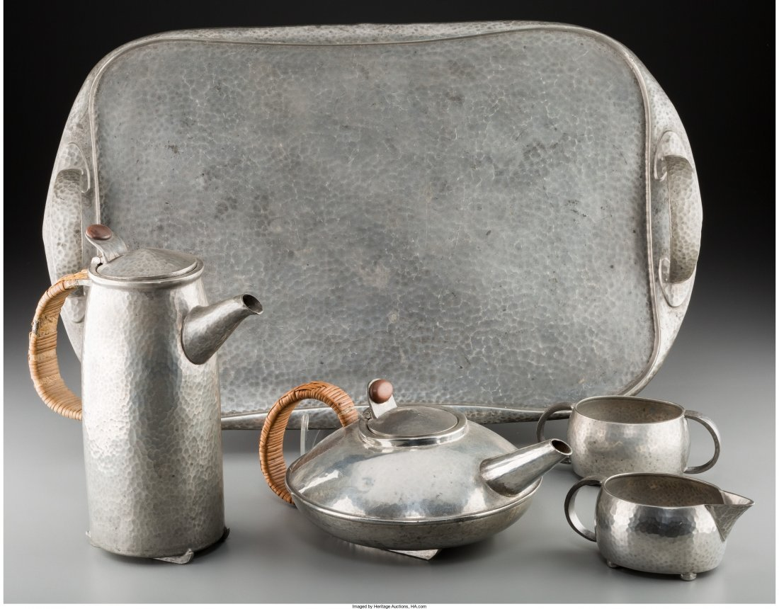 74017: A Five-Piece Liberty & Co. Tudric Pewter Tea and