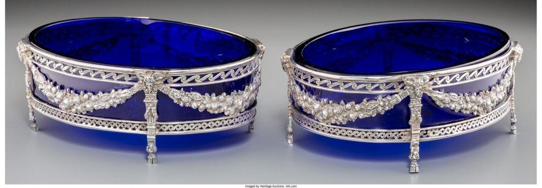 74022: A Pair of Hanau Silver and Cobalt Glass Sweetmea