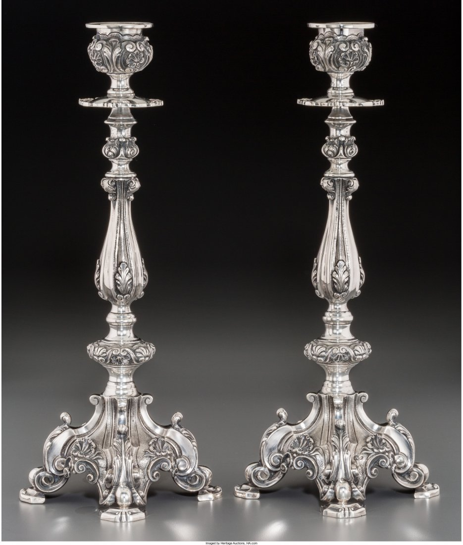 74024: Two Portuguese Silver Candlesticks, Porto, post-