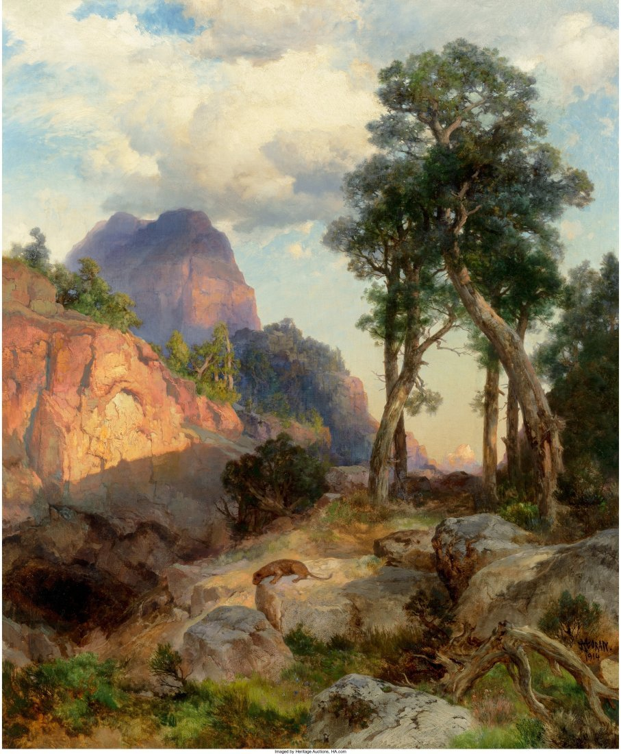 68017: Thomas Moran (American, 1837-1926) Mountain Lion