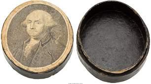 43102: George Washington: Unusual Papier Mâché Lidded