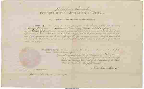 Abraham Lincoln: Signed Postmaster Appointment.
