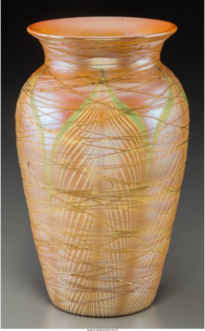63074: Durand Iridescent and Threaded Glass Vase Circa  - 2