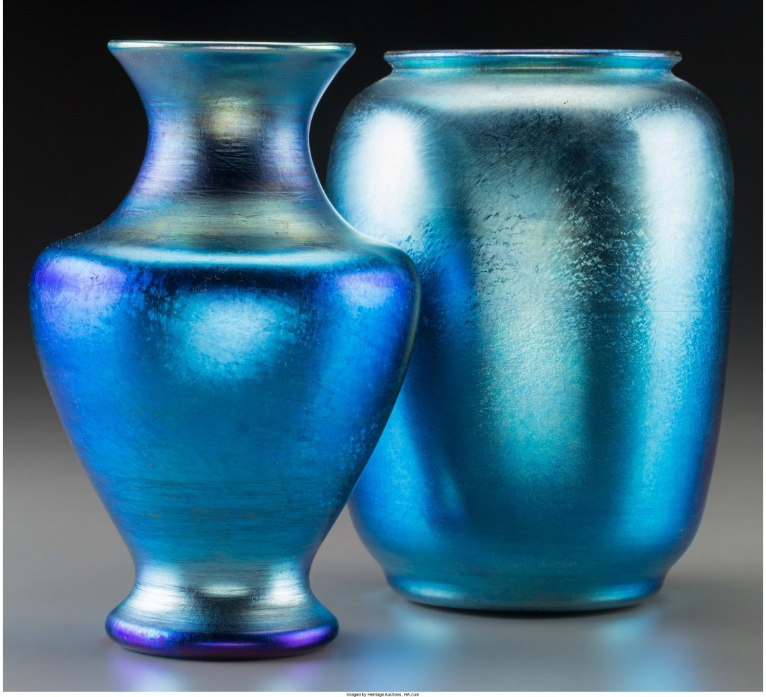 63075: Tiffany Studios Blue Favrile Glass Vase with Dur