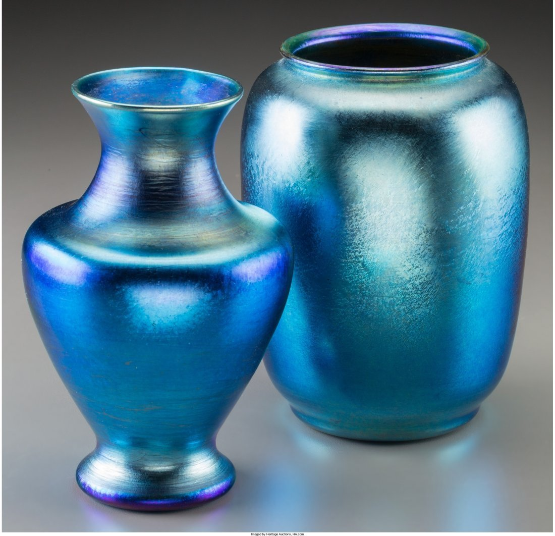 63075: Tiffany Studios Blue Favrile Glass Vase with Dur - 2