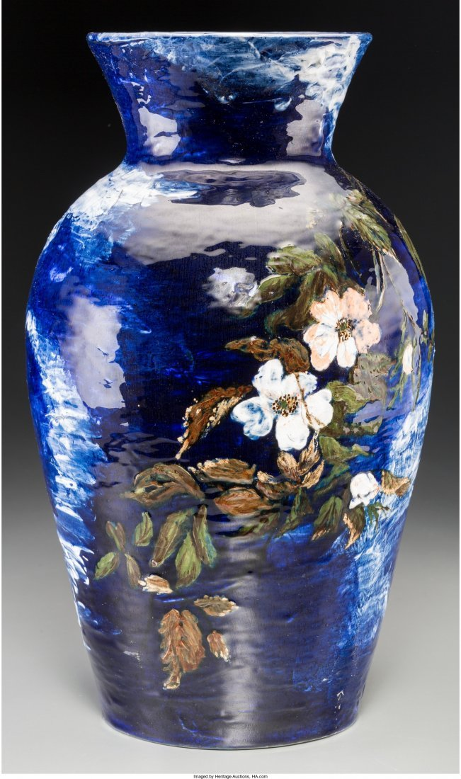 63005: Large and Early Rookwood Ceramic Floral Vase Cir