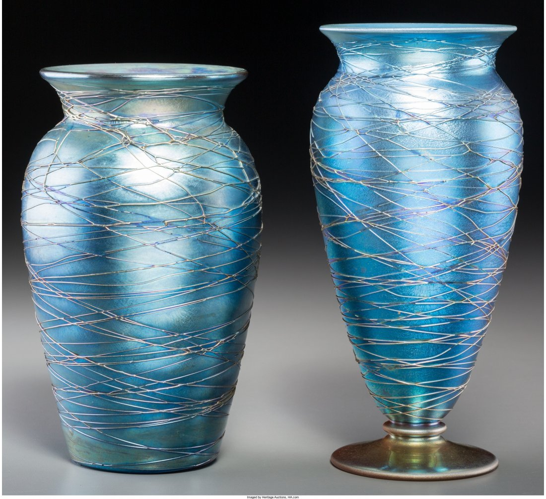 63077: Two Durand Threaded Blue Lustre Glass Vases Circ
