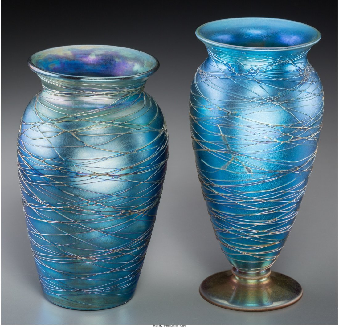 63077: Two Durand Threaded Blue Lustre Glass Vases Circ - 2