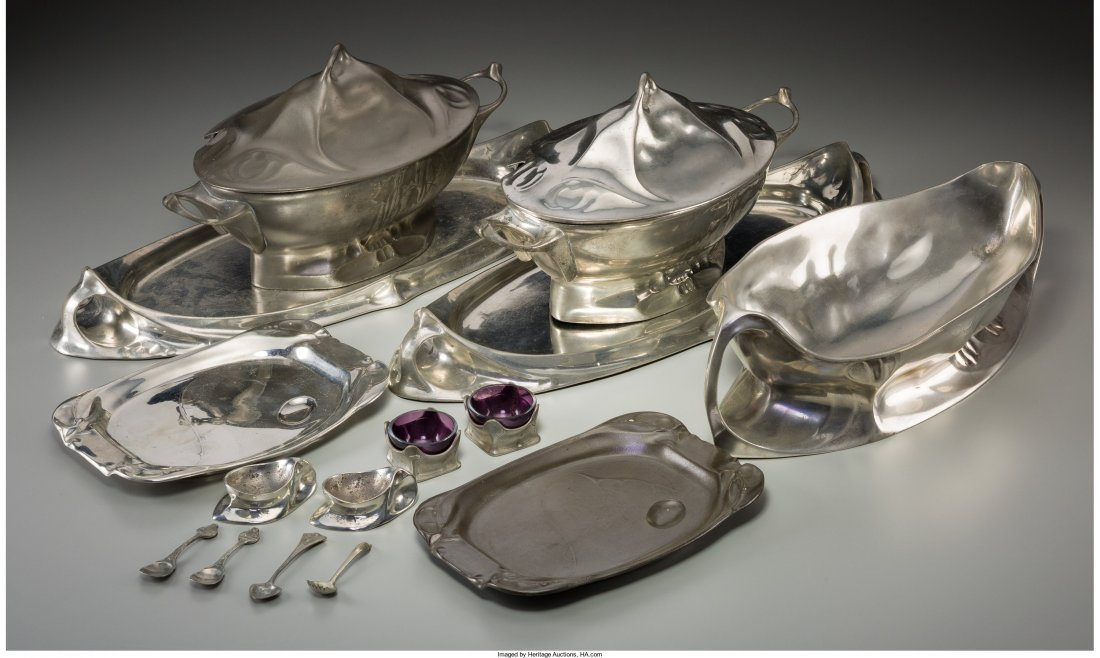 63086: Fifteen Kayserzinn Pewter Tablewares Circa 1900-