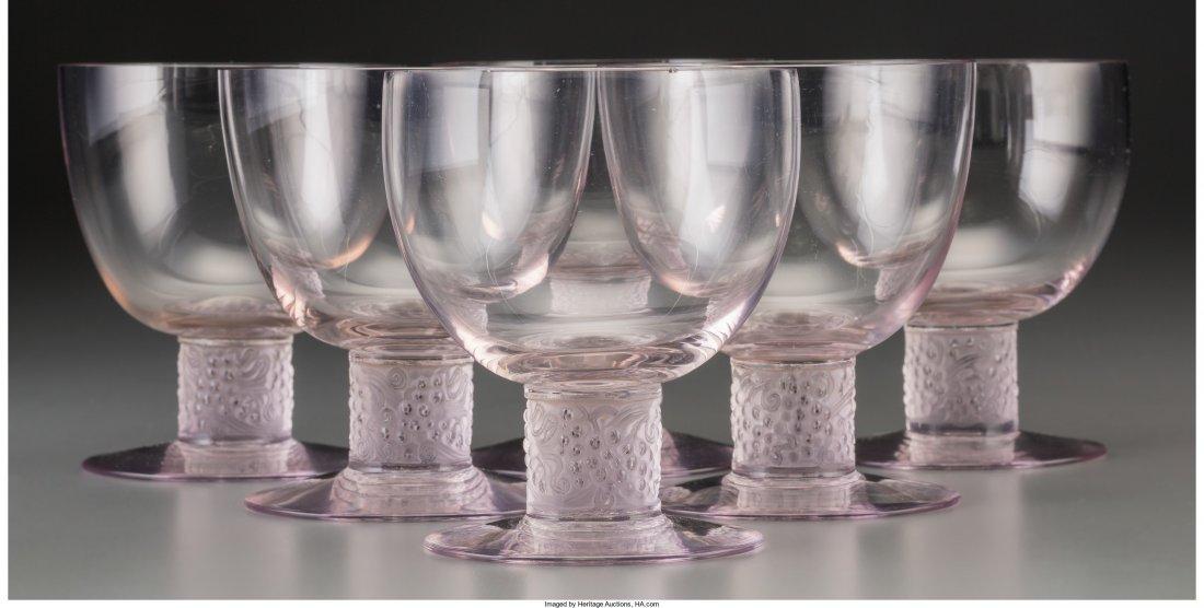 63157: Six R. Lalique Amethyst Tinted Glass Ricquewihr