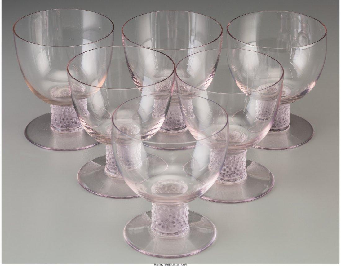 63157: Six R. Lalique Amethyst Tinted Glass Ricquewihr  - 2