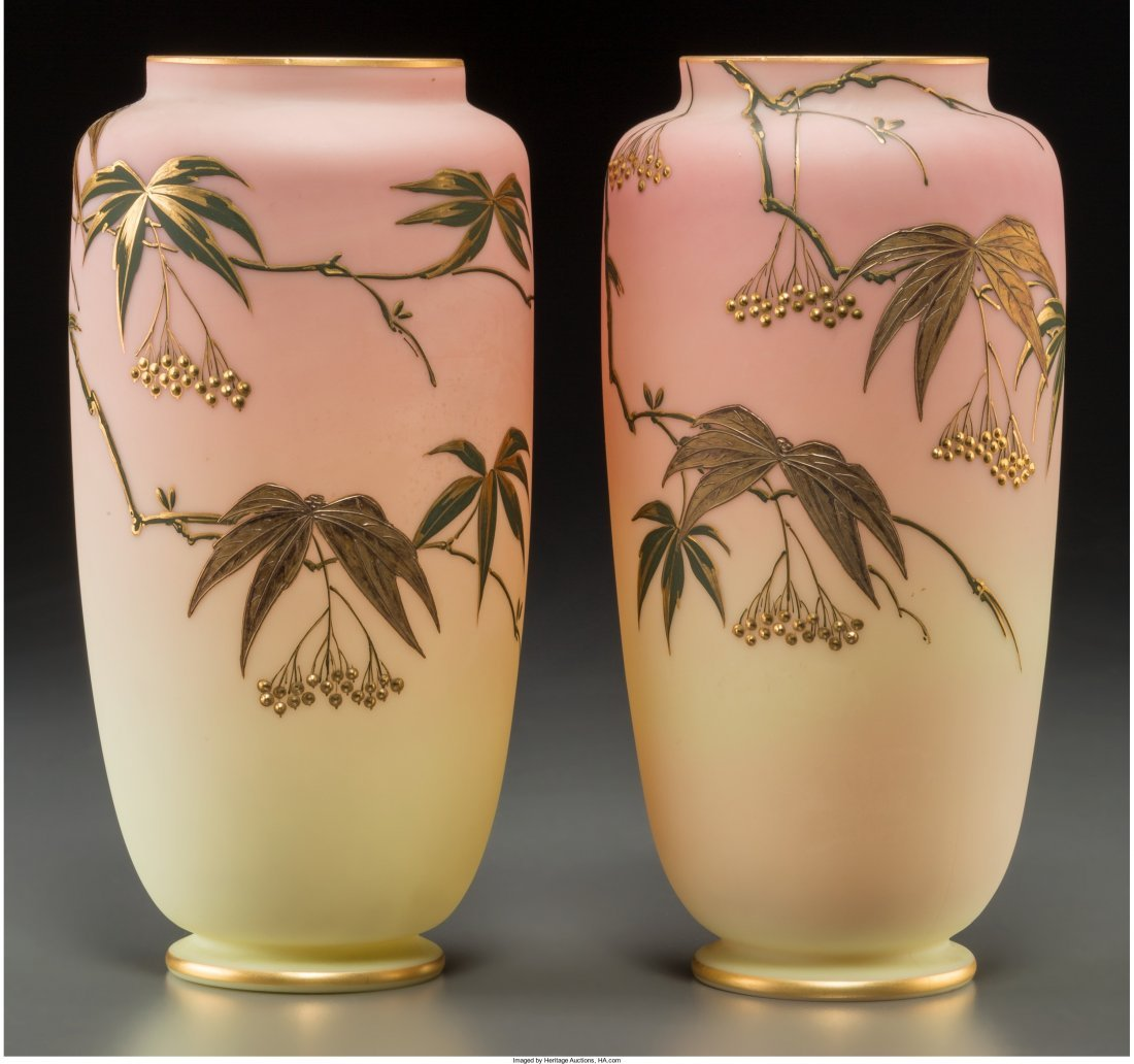 63012: Pair of Thomas Webb & Sons Queen's Burmese Glass