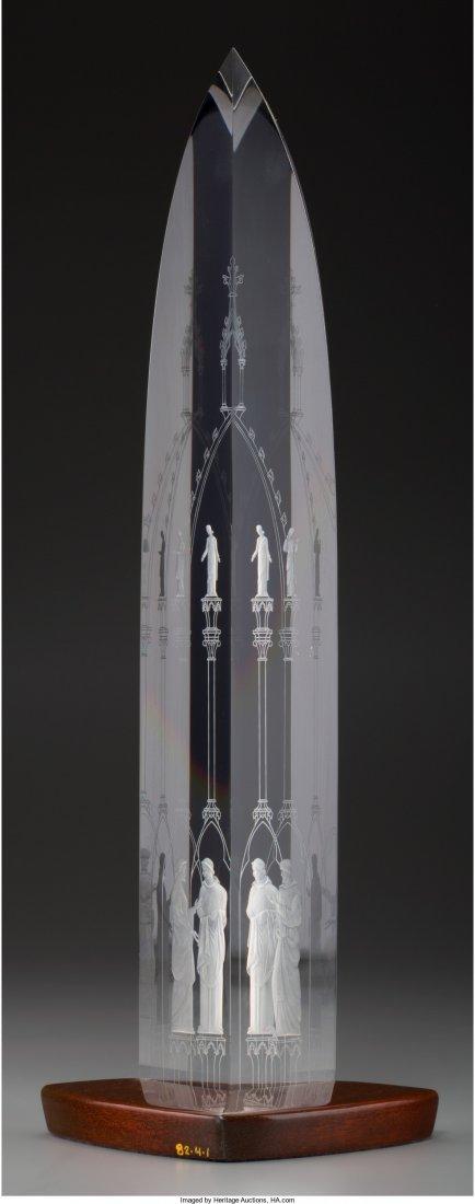63288: Limited Edition Steuben Glass Cathedral Obelisk  - 2