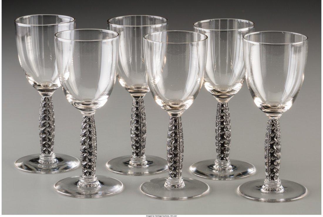 63160: Six R. Lalique Clear Glass and Black Enamel Dorn