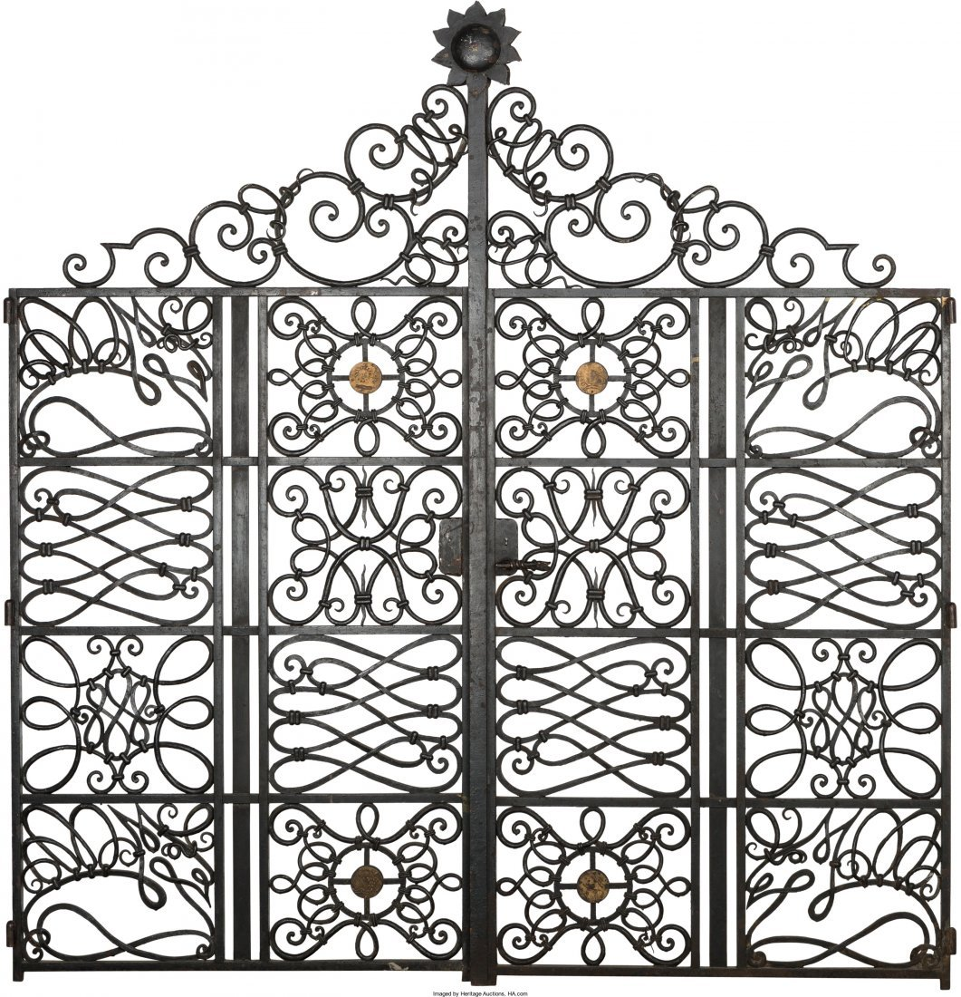 63219: Pair of Painted Wrought Iron Gates in the Manner