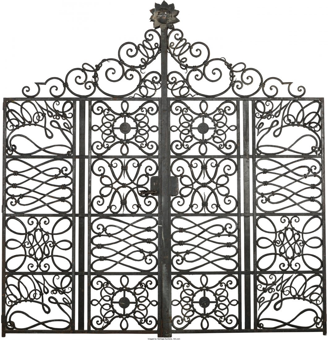 63219: Pair of Painted Wrought Iron Gates in the Manner - 2