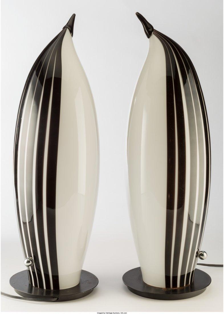 63289: Pair of Murano Glass Penguin Lamps Last quarter