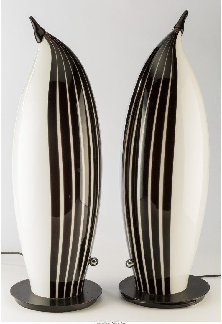 63289: Pair of Murano Glass Penguin Lamps Last quarter  - 2