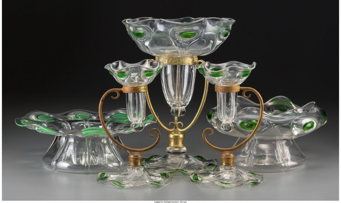 63015: Five Glass Vessels with Applied Tadpole and Peac