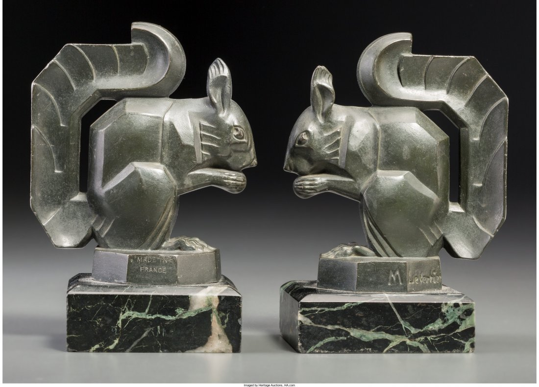 63221: Pair of Max Le Verrier Bronzed Squirrel Bookends