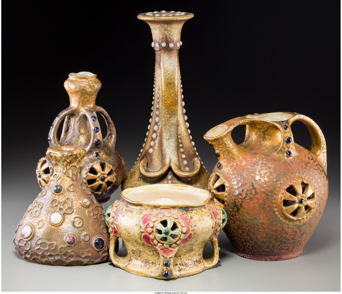 63096: Five Amphora Partial-Gilt Ceramic Vessels with I