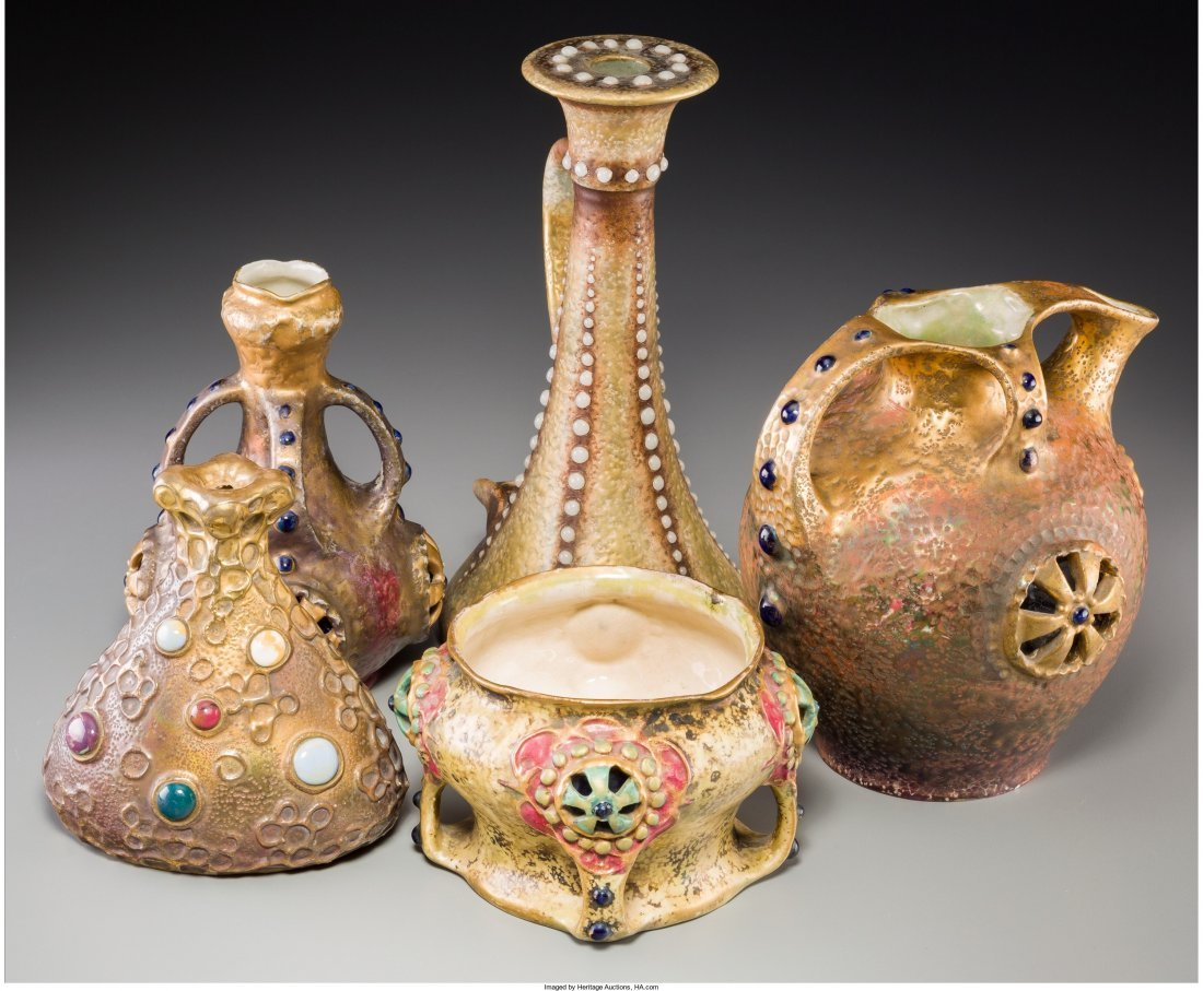 63096: Five Amphora Partial-Gilt Ceramic Vessels with I - 2