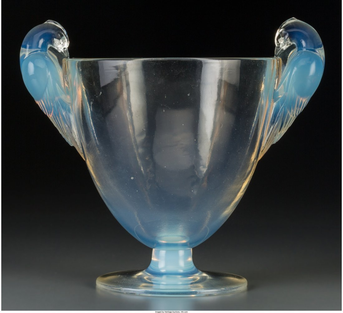 63173: R. Lalique Opalescent Glass Ornis Vase Circa 192